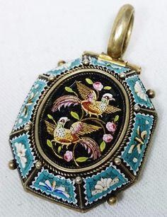 Antique Micro Mosaic Bird & Rose Pendant, Silver Tested, Italy, Grand Tour Era