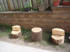 Table and Chairs from tree stumps. Wait till we get the kitchen area all set up. It is going to be amazing. Log Chairs, Table And Chairs, Tree Stump Table, Tree Stumps, Outdoor Learning Spaces, Preschool Garden, Outdoor Classroom, Wood Dust, Backyard For Kids