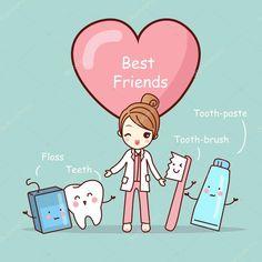 Descargar - Mejores amigos de dibujos animados lindo diente — Ilustración de Stock #127696014 #dentalhygiene