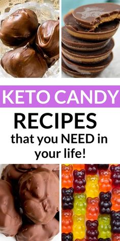 Keto and low carb keto candy recipes. Chocolate hard gummy and more. Keto and low carb keto candy recipes. Chocolate hard gummy and more. Healthy Low Carb Recipes, Low Carb Desserts, Ketogenic Recipes, Diet Recipes, Low Carb Candy, Keto Candy, Cena Keto, Best Keto Diet, Low Carb Breakfast