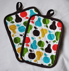 Hot pads is awesomely colorful prints! Perfect, home-made gift!