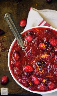 With just 3 ingredients and 10 minutes of your time, you can enjoy this Easy Homemade Cranberry Sauce | by Life Tastes Good at your Thanksgiving feast, or anytime you get your hands on some fresh cranberries! #LTGrecipes