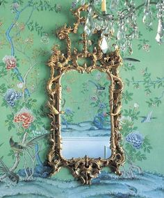 Earlham on Green - hand painted Chinoiserie silk wallpaper by YrMural Studio - more.