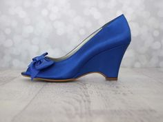Wedding Shoes    Royal Blue Wedge Wedding Shoes With Off Center Matching  Bow On The Toe | Wedding Shoes | Pinterest | Royal Blue Wedges, Wedding  Shoes And ...