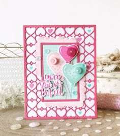 Morning again! It's the final day of the December release from Papertrey Ink. Today I have the pleasure of sharing the new You Make My Heart Soar stamp set and coordinating dies with you. My tiny balloons are stamped in. Valentine Love Cards, Valentine Heart, Valentine Ideas, In China, Cheer Party, Pink Cards, Ink Stamps, Pretty Cards, Diy Scrapbook