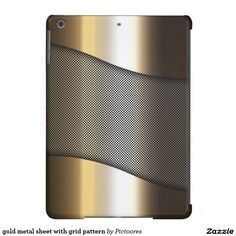 #golden #metal #sheet with grid pattern - #iPad #air #cover #case
