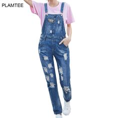 Strap Jeans Overalls for Women Denim Pants with Holes Ripped Pantalon Jean Femmes Fashion Plus Size Vaqueros Mujer Casual Jeans