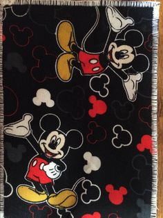 Mickey, fabric postcard.