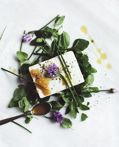 Feta with honey and herbs.