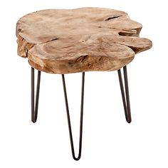 Table basse en teck   marron clair   60 x 60 x 40 cm