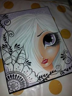 Purple big eye girl Original Canvas Painting by Megan Kunstjournal Inspiration, Art Journal Inspiration, Painting Inspiration, Sketch Painting, Diy Painting, Arte Pop, Whimsical Art, Face Art, Altered Art