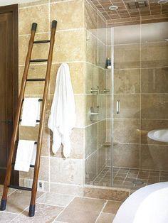 BHG: travertine tile bathroom