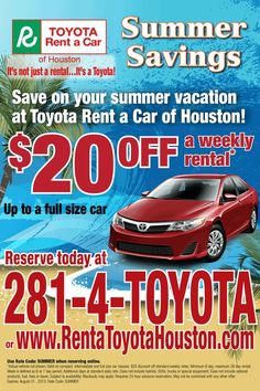 Current Specials Going On In Our Toyota Rent A Car. | Toyota Rent A Car |  Pinterest