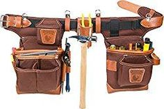 Occidental Leather makes the best leather tool pouch belt system right here in the USA! Buy the Occidental 9855 Adjust-to-Fit Fat Lip Tool Bag Set - Cafe at the lowest prices! Carpenter Tool Belt, Carpenter Tools, Best Tool Bag, Electrician Tool Belt, Leather Tool Pouches, Diy Leather Tool Belt, Leather Craft, Occidental Leather, Garden Tool Bag