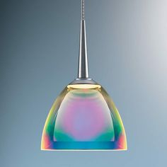 A multi colored glass light shows rainbows of light ultra modern Hanging Pendant Light and Lamp design