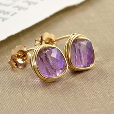 Purple Amethyst Post Earrings Gold February Birthstone by NansGlam, $19.00
