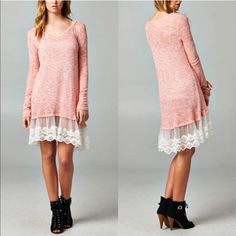 MADELINE lace trimmed tunic - PEACH A touch of feminine & cute. Which girl can resist lace? Made in the US. NO TRADE, PRICE FIRM Bellanblue Dresses Long Sleeve