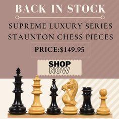 Supreme Luxury Series Staunton Chess Pieces Only Set Wood Chess Board, Chess Pieces, Supreme, Mall, Traditional, Luxury, Template