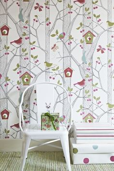 Adorable Cherry Tree With Birds Wallpaper By Borastapter Paper Wallpaper Bird Wallpaper Wallpaper