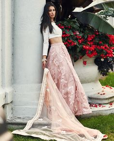 Soft pink floral lace lengha