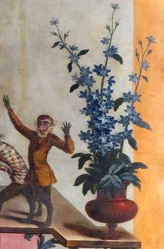 Wentworth Castle.  Singerie.  Beautiful pot of blue flowers