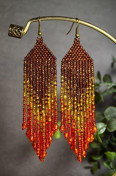 Perlen Ohrringe Gold braun Orange Glanz und Charme lange
