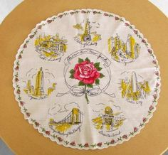 vintage 50s New York scenic souvenir round hankie by catlady531, $20.00