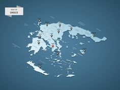 Isometric 3D Greece map, vector illustration with cities, borders, capital, administrative divisions and pointer marks; gradient blue background. Concept for infographic.