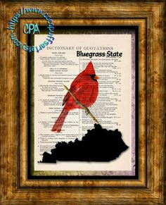 KENTUCKY State Black Silhouette with State Bird, Bluegrass State Art - Vintage Dictionary Page Art Print Upcycled Page Print by CocoPuffsArt on Etsy