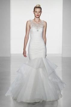 Sloane: Tulle rouched bodice fit to flare with hand beaded crystal illusion neckline and straps-Amsale