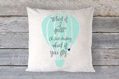 Pillow Cover 16 x 16  What if I Fall What if You by GRACEandCRUZ