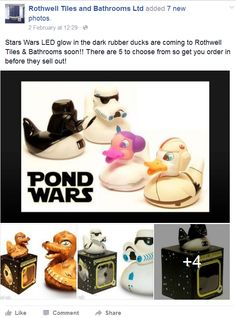 Stars Wars LED glow in the dark rubber ducks are coming to Rothwell Tiles & Bathrooms soon!! There are 5 to choose from so get you order in before they sell out!