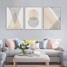 Geometric Wall Art Set of 3 Prints Pink and Grey Wall Art | Etsy
