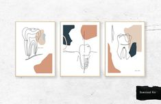 Dentist Art, Gifts For Dentist, Teeth Pictures, Empty Wall, Modern Prints, Diy Painting, Digital Image, Wall Art, Etsy