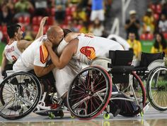 Players and technical staff of team Spain celebrate their victory in the match between Great Britain and Spain on Mens Wheelchair Basketball on day 8 of the Rio 2016 Paralympic Games at Rio Olympic Arena on September 15, 2016 in Rio de Janeiro, Brazil.
