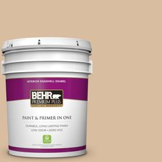 BEHR Premium Plus 5 gal. #PPU4-14 Renoir Bisque Zero VOC Eggshell Enamel Interior Paint