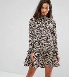 ASOS PETITE Mini Smock Dress with Pep Hem in Animal Print - Multi