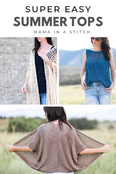 These are seriously the easiest crochet and knit tops for summer! I love how pretty they are, yet each is made with basic stitches and shapes. via @MamaInAStitch Quick Crochet, Knit Crochet, Crochet Crafts, Crochet Baby, Crochet Projects, Free Crochet, Crochet Summer Tops, Summer Knitting, Crochet Tops