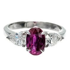 Peter Suchy Natural Purplish Red Ruby Diamond Platinum Ring | From a unique collection of vintage engagement rings at https://www.1stdibs.com/jewelry/rings/engagement-rings/