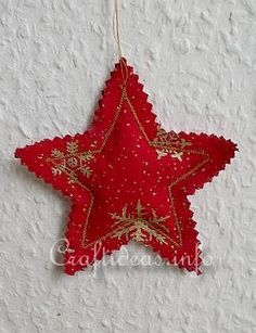 Christmas Sewing Craft - Red Star Ornament - Use left over fabric - PC