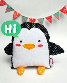 Pingi the Penguin plush Doll softie by Toela on Etsy,