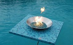 Here is one of our Tile Models. Choose from one of our beautiful styles or create a custom Floating Fire Pit with a Tile that matches your existing patio. Only @Aquafirepit