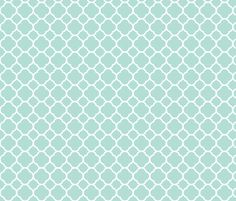 Mint Quatrefoil fabric by sweetzoeshop on Spoonflower - custom fabric