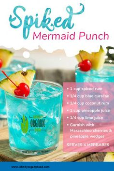DIY: Spiked Mermaid Punch Served In a Custom Corkcicle Stemless Wine T – Mermaid Cove Collective You are in the right place about Alcoholic Drinks winter Here we offer you the most be Party Drinks Alcohol, Tequila Drinks, Alcohol Drink Recipes, Liquor Drinks, Cocktail Drinks, Fun Drinks, Blue Alcoholic Drinks, Blue Curacao Drinks, Rum Punch Recipes