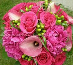 Hot pink peonies, pink mini callas, hot pink roses... Hot pink wedding bouquet by Blooms 'n Blossoms www.bloomsnblossomsky.com