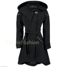 Damn. That's cool! Vixxsin Poizen Industries Emo Gothic Punk Pleaser Coat Black Ladies Gothic Coat  #Vixxsin #FleeceJackets #Casual