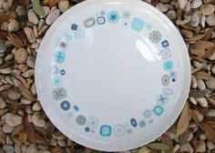 """Vintage Mid Century Modern Franciscan """"Del Mar"""" Plates - Atomic - Set of 4 Dinner Plates and 3 Cups - Vintage Plates Cups in Blue Aqua Beige."""