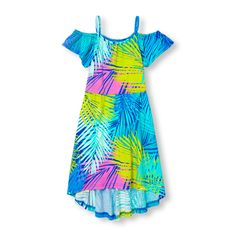 Girls Short Sleeve Palm Print Knit Cold-Shoulder Maxi Dress