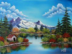 Heavenly Springs Mountain Landscape, Landscape Art, Landscape Paintings, Bob Ross Art, Easy Paintings, Acrylic Painting Canvas, Art Techniques, American Art, Painting Inspiration