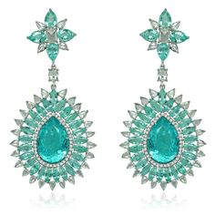 39cts of Icy Blue Paraiba Tourmalines and 7cts of White Diamonds set in 14k White Gold! The perfect earrings for a Caribbean get away! #eyesdesire